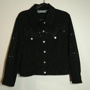 🍀⚡🍀 Black denim jacket with bling!